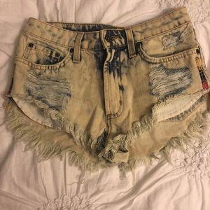Carmar acid wash tribal print Jean shorts